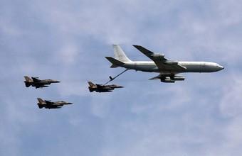 Israeli KC-135 Stratotanker refueling F-16