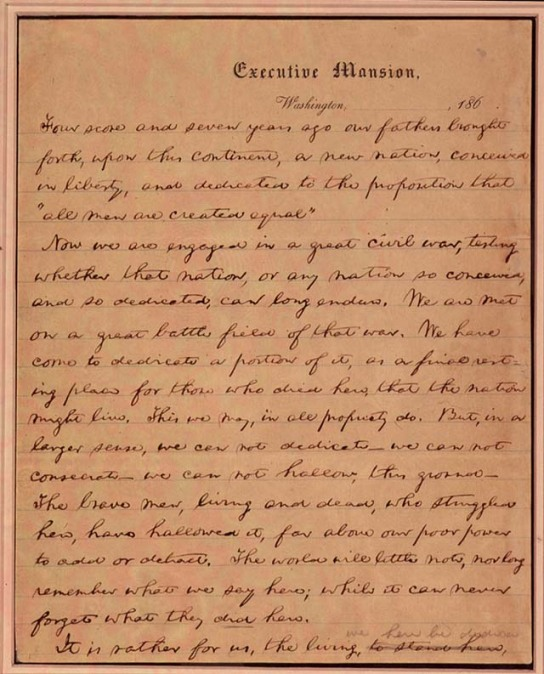 Page one of first draft of Gettysburg Address