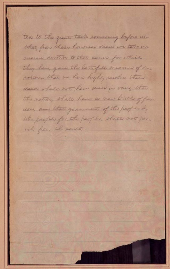 Second page of first draft of Gettysburg Address