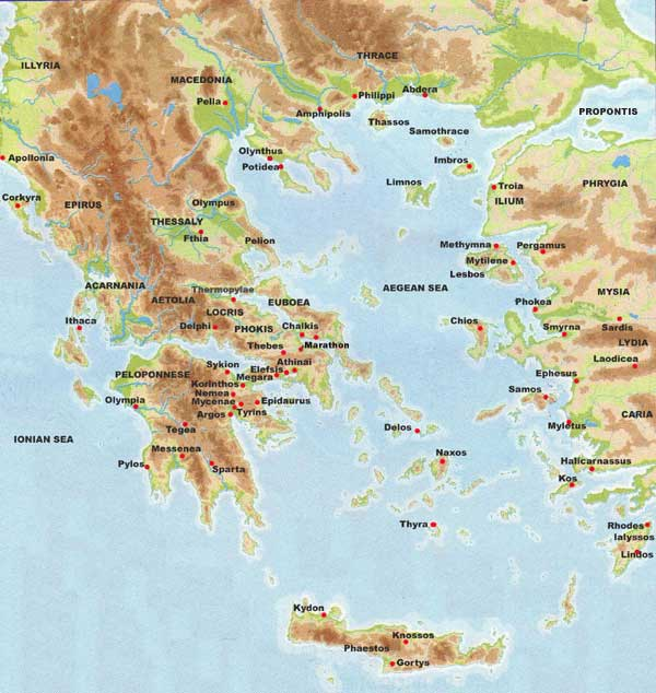 It is a photo of Striking Ancient Greece Map Labeled