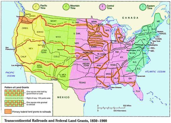 Us Railroad Map 2012 Transcontinental Railroads   Jamia's History Website