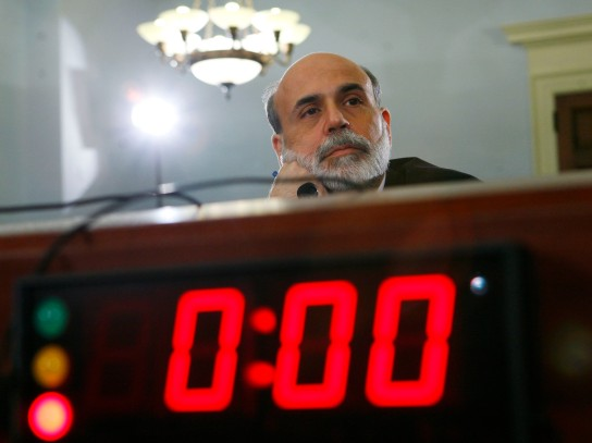 US Chairman of the Federal Reserve Ben Bernanke listens to questions as he testifies before a House Budget Committee on Capitol Hill in Washington