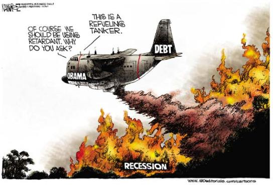 national debt and recession, obama cartoons