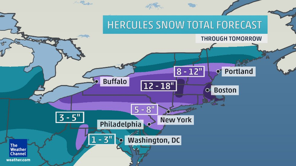 Winter Storm Hercules Unchained — Snow Blizard Hits New York and