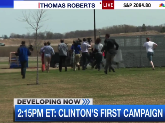 watch-reporters-hilariously-chase-after-hillary-clintons-van-at-her-first-campaign-event