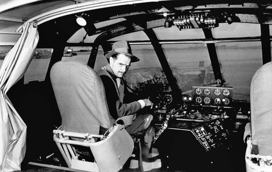 "Oct. 31, 1947: Howard Hughes, millionaire plane manufacturer, sits at the control of his giant eight-engine wooden flying boat H-4 Hercules later known as the ""Spruce Goose."""